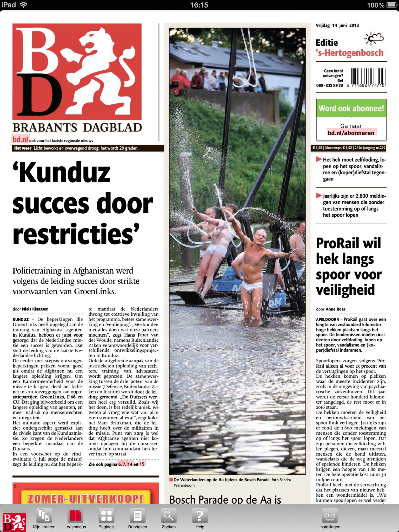 De Waterlanders op de Aa tijdens de Bosch Parade - Brabants Dagblad
